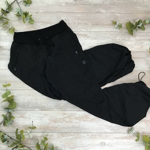 Black Warm-up Pants with Drawstring Bottoms